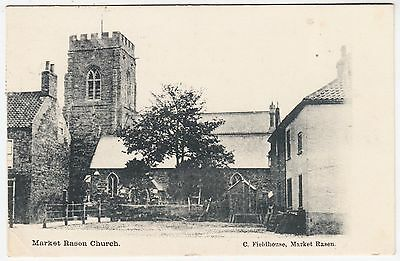MARKET RASEN CHURCH - by C Fieldhouse - 1903 used Lincolnshire postcard