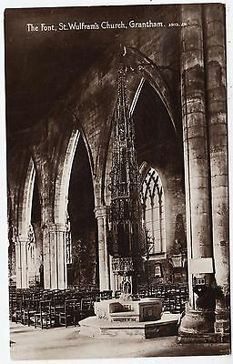 GRANTHAM - ST WULFRAM'S CHURCH FONT - 1915 used Lincolnshire Real Photo postcard