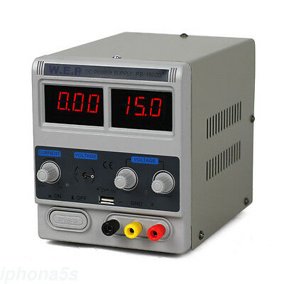 Adjustable Variable Power Supply 0-15V 0.6-2A Electronic Test DC WEP-1502D US