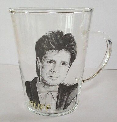 CLIFF RICHARD GLASS COFFEE MUG b/w Ideal for Dolce Gusto machines