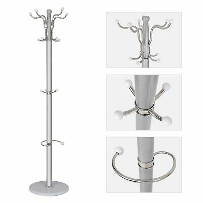 Hat Coat Umbrella Stand Clothes Storage Rack Holder Steel 15 Hooks Marble Base