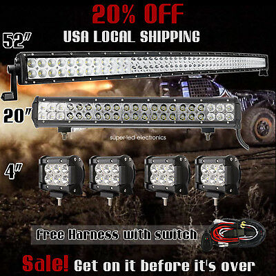 """52Inch Curved LED Light Bar + 20in +4"""" CREE PODS OFFROAD SUV 4WD ATV FOG JEEP 50"""