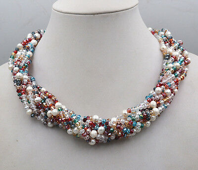new 4mm Multicolor Crystal & Freshwater Pearl Hand prepared Necklace 10 rows