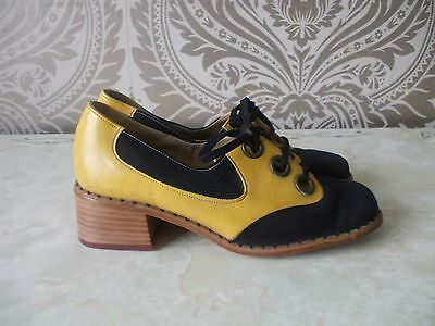 Ladies Original Vintage Roma Roberta Black Yellow Brogues Shoes Size UK 6.5 NEW