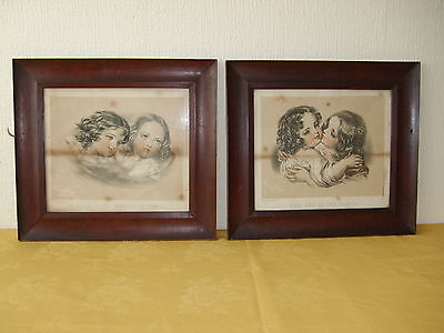 Pair Of Antique Picture Frames With Glass & Prints.