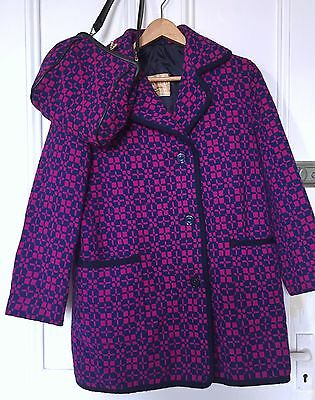 VINTAGE 60s ECLIPSE PURPLE WELSH WOOL TAPESTRY COAT/JACKET & HANDBAG SIZE: 10-12