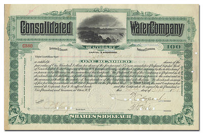 Consolidated Water Company of Utica, NY Stock Certificate