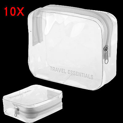 10PCS HOLIDAY TRAVEL TOILETRIES BAG - Clear Plastic Airline Airport Toiletry Bag