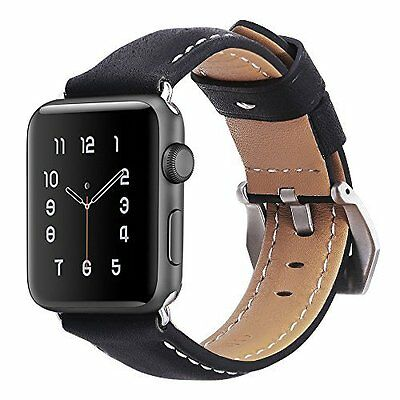 IWatch Band Genuine Leather Replacement Secure Metal Clasp Black 42mm Apple NEW