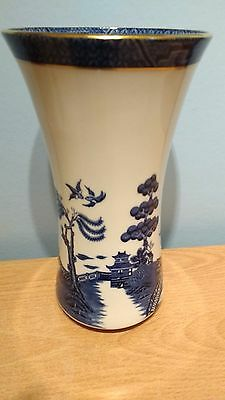 Royal Doulton Booths Real Old Willow Fine Bone China 23.5cm Vase. 2nd Qual. VGC.