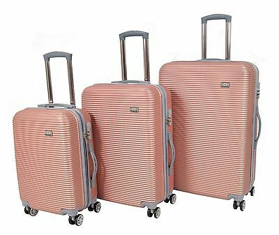 Hard Shell ABS 4 Wheel Spinner Suitcase Travel Luggage Lightweight Rose Gold