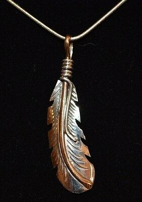 Pendant Native American Feather Sterling Silver Gold Overlay Navajo Artist Howe