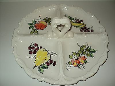 Lefton 3 Section Divided Dish Fruit Print With Handle Made in Japan