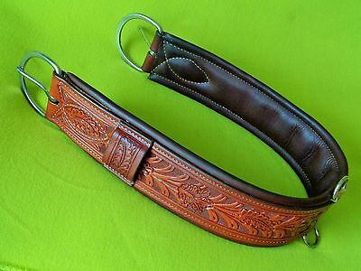 "TOP Quality 41"" HERMANN Oak TOOLED Leather PADDED Western Show Saddle CINCH"