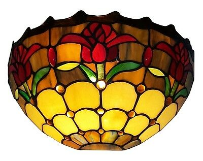 """Tiffany Style Stained Glass Tulips Wall Lamp Light Living Rm Bedroom Decor 7.1""""H"""