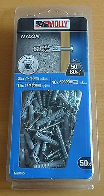 Black&Decker Molly Solid Nylon Fixing Plug + Screws (5/6/8 mm) [50 piece pack]