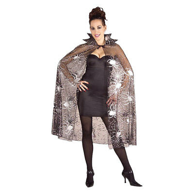 Womens Halloween Spider Cape Ladies Fancy Dress Party Costume
