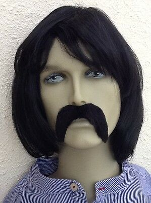 Men's Black Bob Style Pop Band Fancy Dress Wig and Extra Thick Droop Moustache