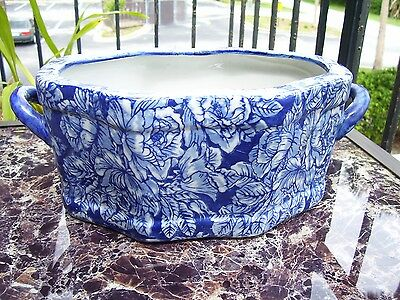 Vintage Victoria Ware Ironstone Flow Blue CHINTZ ROSES Oval Bowl WITH HANDLES