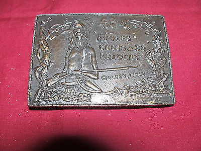 1913 Adolph Coors Beer Brewery Indian Brass Belt Buckle Mens Womens Old Vintage