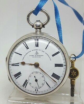 Chunky Antique solid silver gents John Forrest London pocket watch 1902 working