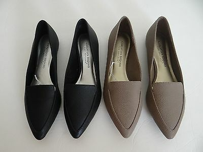 Christian Siriano For Payless Women's Pointy Toe Slip on Flats Shoes Black Taupe