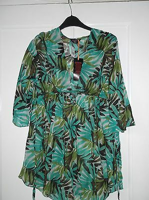 ladies pretty patterned beach top //  swimming costume cover up, size 10 NEW