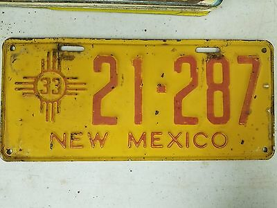 1933 NEW MEXICO License Plate 21-287