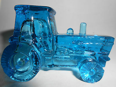 Blue glass farm tractor / art candy container new holland ford aqua green childs