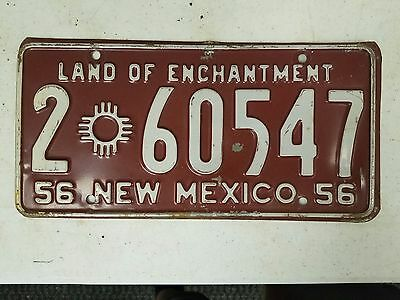 1956 NEW MEXICO Bernanlillo County Land of Enchantment License Plate 2 60547