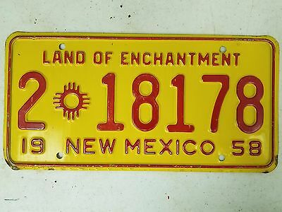 1958 NEW MEXICO Bernanlillo County Land of Enchantment License Plate 2 18178