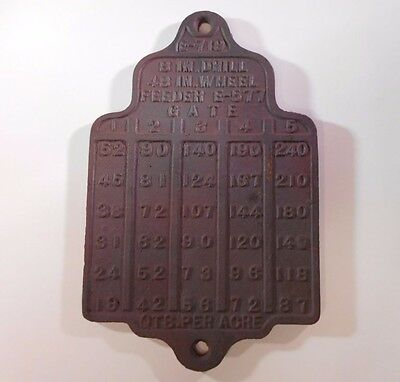 Antique SEED/Grain DRILL Cast Iron Usage Table - Farm Implement Pierce Kentucky