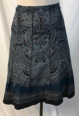 3a074ab58 Ann Taylor Women's Skirt Flared Blue Black Paisley Silk Blend Size 6 Petite