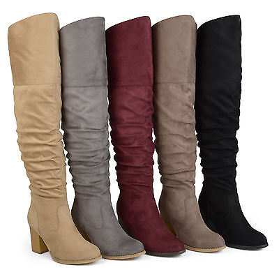 Brinley Co Womens Regular and Wide Calf Faux Suede Ruche Over the knee Boots New
