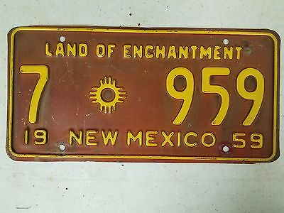 1959 NEW MEXICO Dona Ana County Land of Enchantment License Plate 7 959