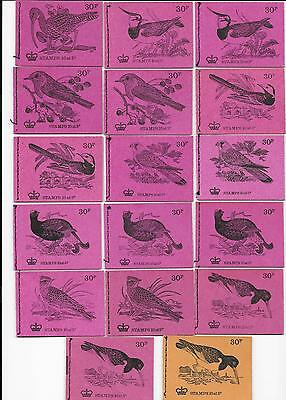 British Birds, complete series, DQ56-72a, 17 booklets, cat value £108.00