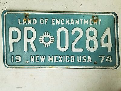 1974 NEW MEXICO Land of Enchantment License Plate PR 0284