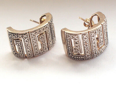 Vintage 1960's 925 Sterling Silver Gold Plated Greek Key Earrings Butterfly Back