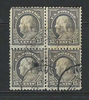 UNITED STATES - #514 - 15c FRANKLIN USED BLOCK OF 4 (1917)