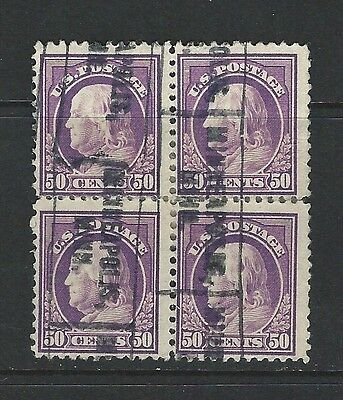 UNITED STATES - #517 - 50c FRANKLIN USED BLOCK OF 4 (1917)