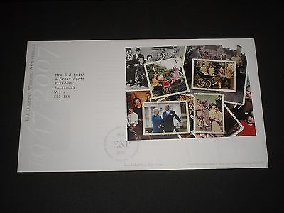 2007 GB Stamps DIAMOND WEDDING MINI SHEET First Day Cover TALLENTS HOUSE FDC #2