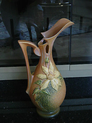 "Roseville Pottery Clematis 15"" Ewer in brown #18-15"