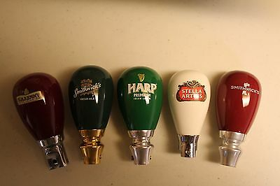 NEW lot of 5 Beer tap Handles STUBBY Harp Stella Artois Smithwicks Kilkenny NEW