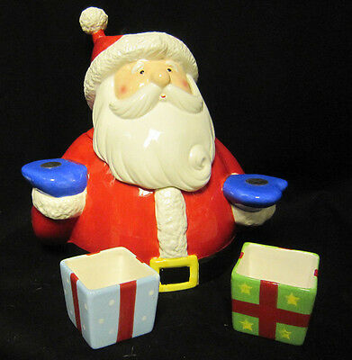Snow Days Ceramic Santa Cookie Jar Chip and Dip with Magnetic Hands