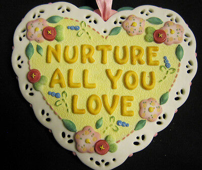 Mary Engel Breit Porcelain Heart Plaque Nurture All You Love
