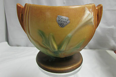 Vintage 1930s Roseville Art Pottery Thornapple Vase / Bowl w/ Silver Label #304