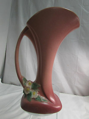 Vintage 1950 Roseville Art Pottery Mock Orange Handled Vase #973-8 LOOK!!