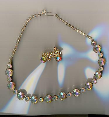 Beautiful Vintage Aurora Borealis Rhinestone Necklace and earrings