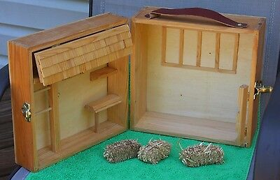 Breyer Wood Barn For Horse Stable Folding Carry 3 Straw Bales Missing Gate