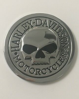 Harley Davidson Patch, Sticker, Metall Chrom,Rund 70mm groß